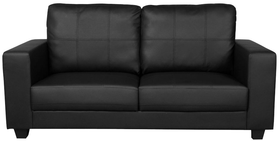 Queensbury Black Faux Leather 3 Seater Sofa