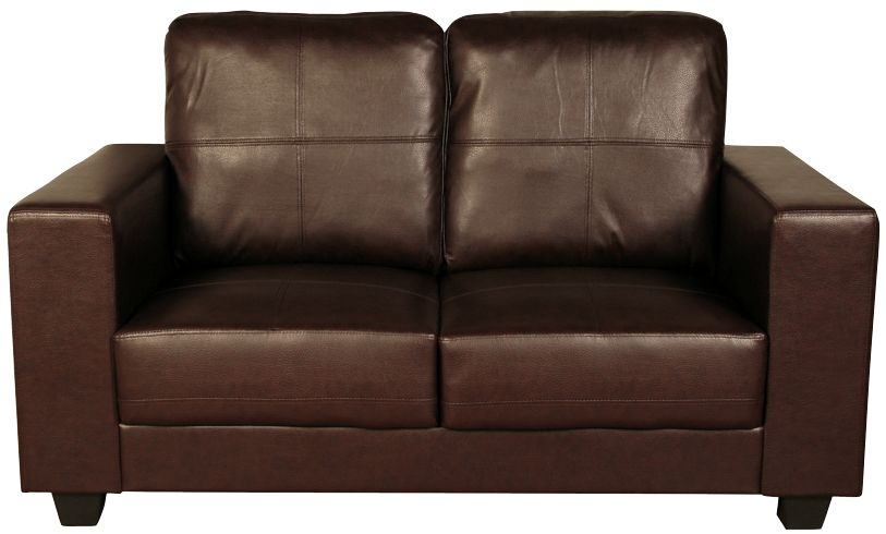 Queensbury Brown Faux Leather 2 Seater Sofa