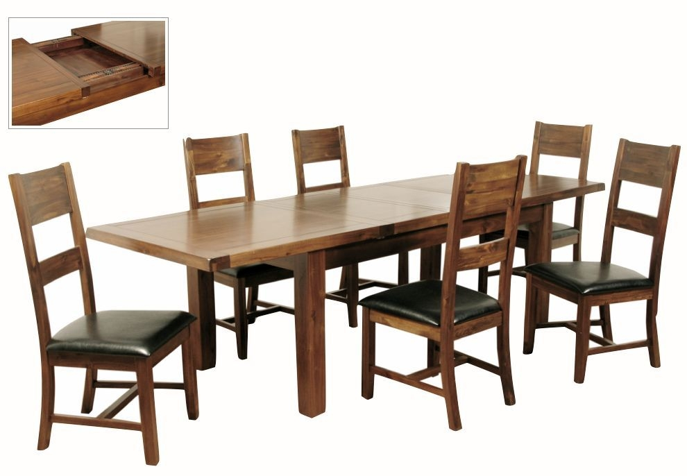 Roscrea Rectangular 2 Leaf Extending Dining Set with 6 Ladder Back Chairs - 180cm-270cm
