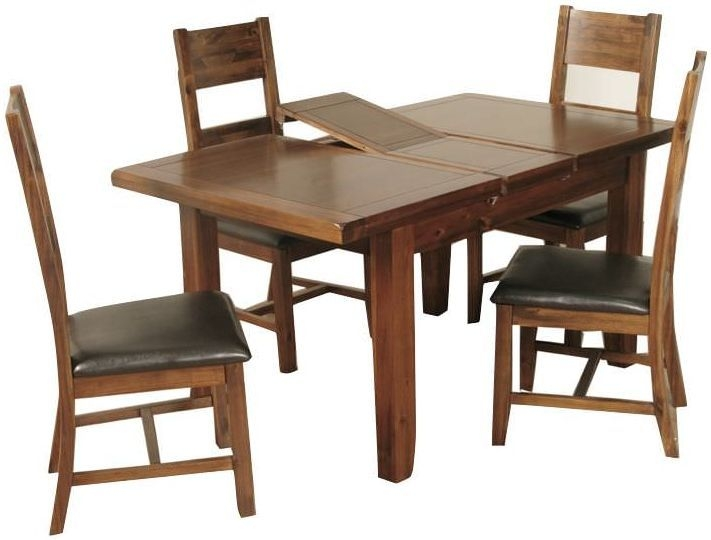 Roscrea Rectangular Butterfly Extending Dining Set with 4 Ladder Back Chairs - 120cm-150cm