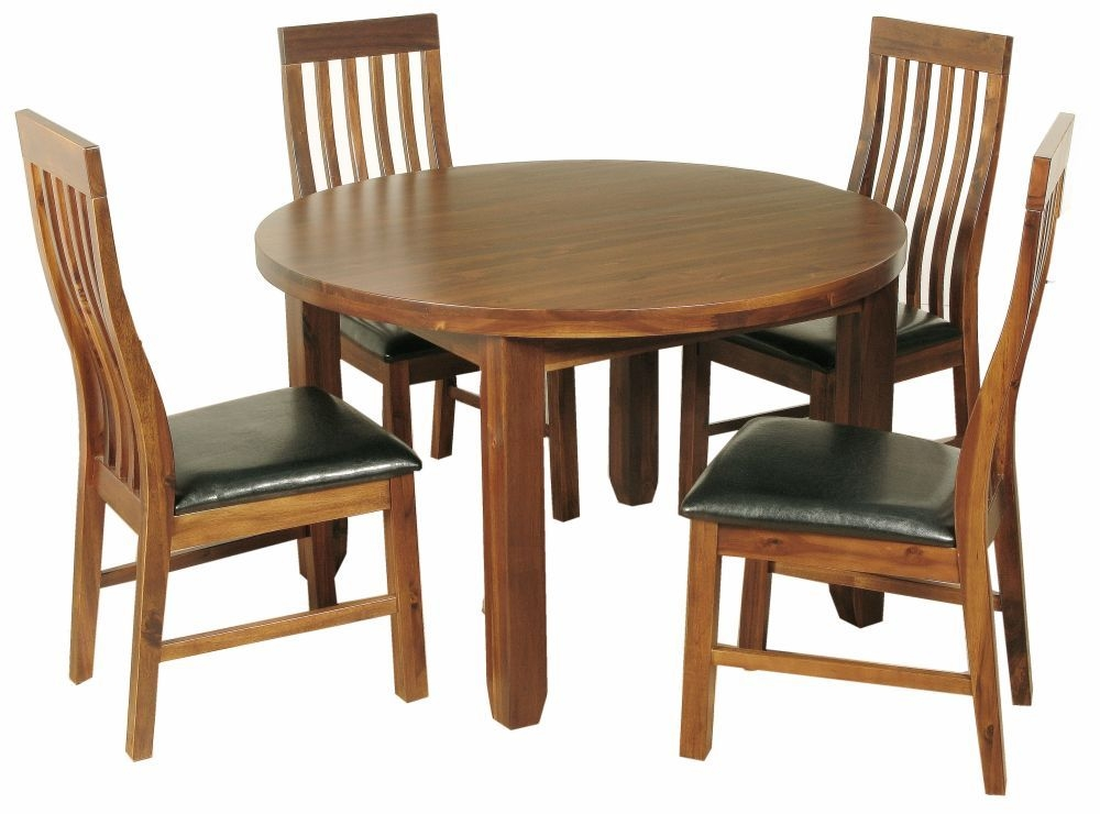 Roscrea Dining Set - Round with 4 Slatted Back Chairs