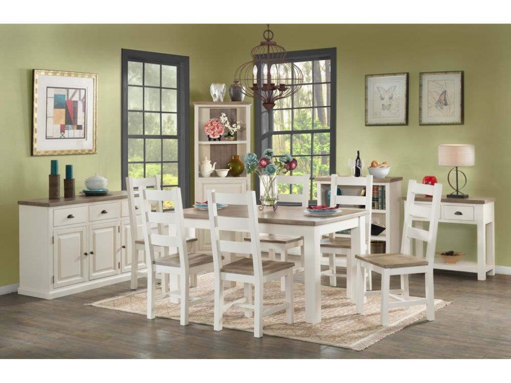 Santorini Stone Painted Large Dining Table and 6 Chairs
