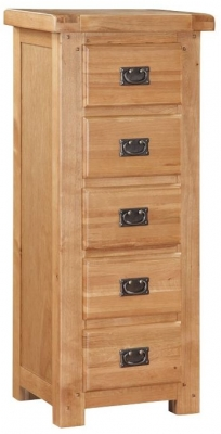 Somerset Oak Chest of Drawer - 5 Drawer