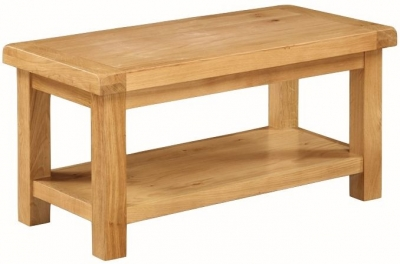 Somerset Oak Coffee Table With Shelf -  Small