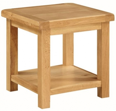 Somerset Oak End Table With Shelf
