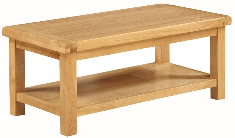 Somerset Oak Coffee Table With Shelf - Large