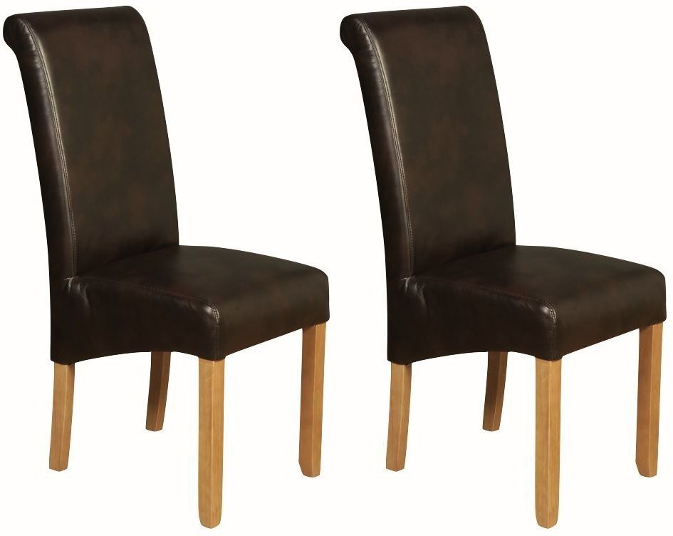Sophie Brown Faux Leather Dining Chair (Pair)