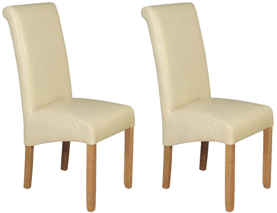 Sophie Cream Faux Leather Dining Chair (Pair)