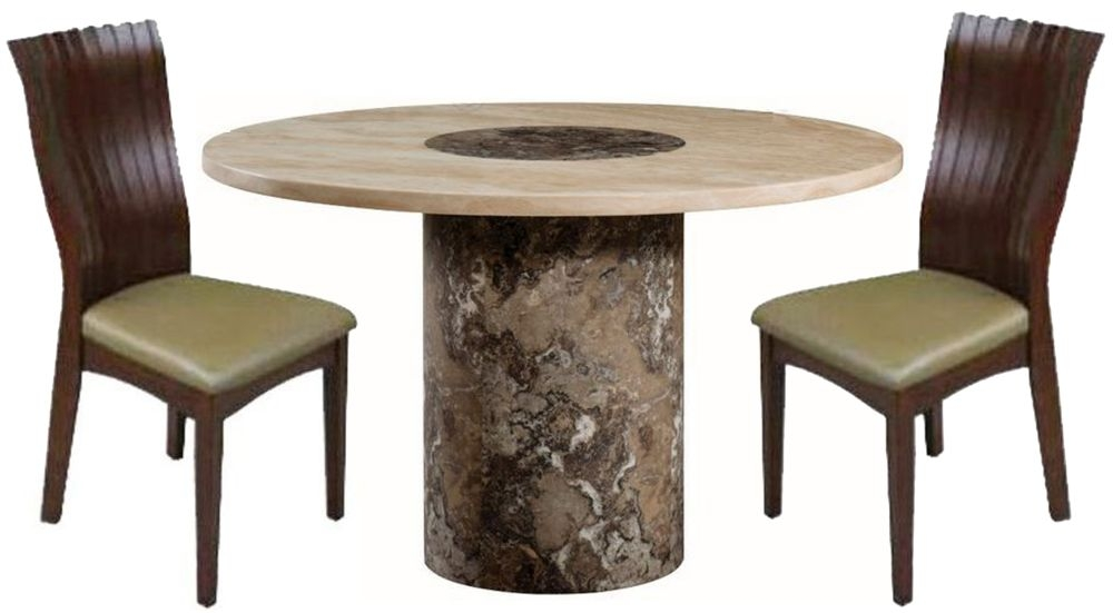 Sorrento Marble Dining Set - 4ft Round with 4 Vittoria Chairs