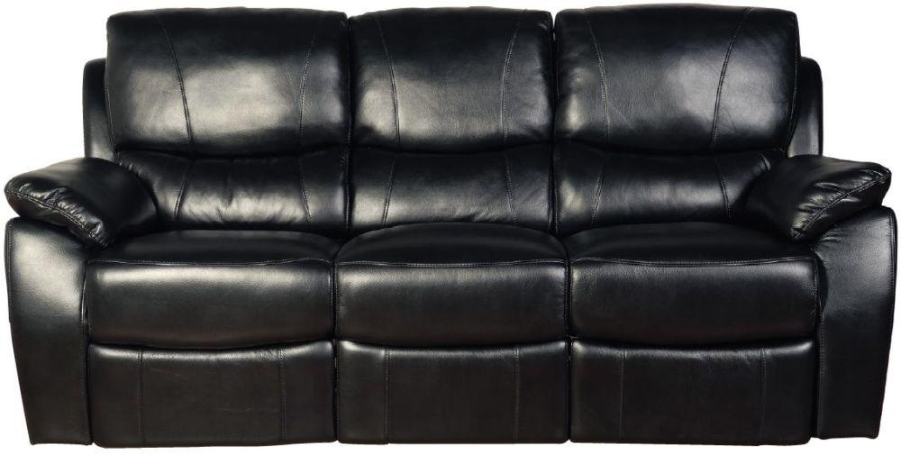 Swindon Black LA Recliner 3 Seater Sofa