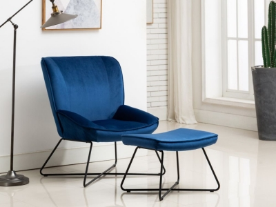 Teagan Blue Velvet Fabric Chair and Footstool