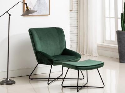 Teagan Green Velvet Fabric Chair and Footstool