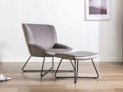 Teagan Grey Velvet Fabric Chair and Footstool