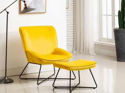 Teagan Ochre Velvet Fabric Chair and Footstool
