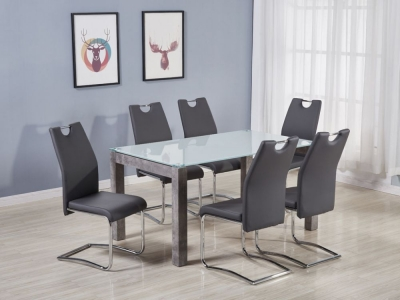 Tivoli Large Dining Table - Glass and Concrete Effect