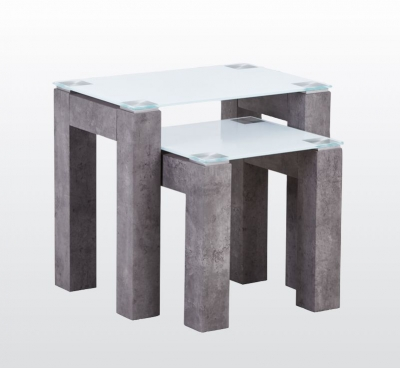 Tivoli Nest of Tables - Glass and Concrete Effect