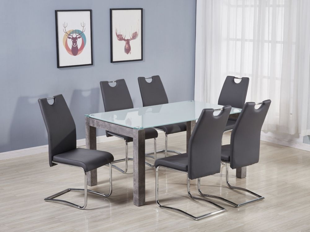 Tivoli Large Dining Table and 6 Claren Grey Chairs - Glass and Concrete Effect