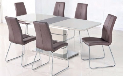Toscana Champagne Glass Top Extending Dining Table and 6 Brown Chair