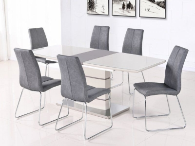 Toscana Champagne Glass Top Extending Dining Table and 6 Grey Chair