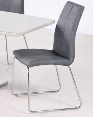 Toscana Grey Leather Dining Chair (Pair)