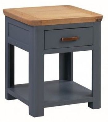 Treviso Midnight Blue and Oak 1 Drawer End Table