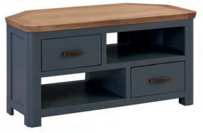 Treviso Midnight Blue and Oak Corner TV Unit