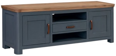 Treviso Midnight Blue and Oak Wide TV Unit