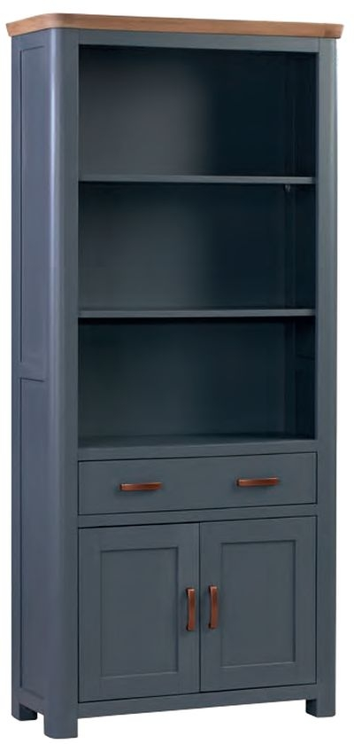 Treviso Midnight Blue and Oak High Bookcase