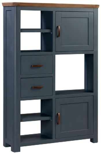 Treviso Midnight Blue and Oak Large Display Cabinet