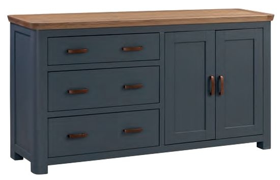 Treviso Midnight Blue and Oak Large Sideboard