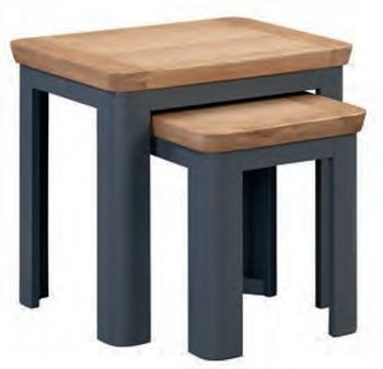 Treviso Midnight Blue and Oak Nest of 2 Tables