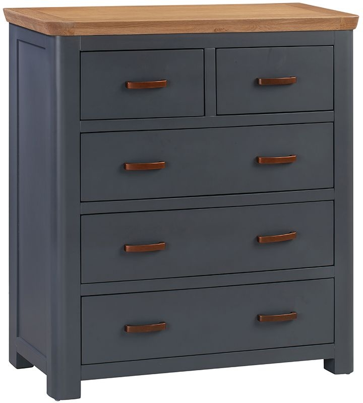 Treviso Midnight Blue and Oak 2+3 Drawer Chest