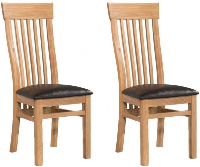 Treviso Oak Dining Chair with Dark Brown Faux Leather Seat Pad (Pair)
