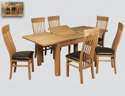 Treviso Oak Butterfly Extending Dining Table and 6 Chairs