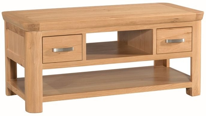 Treviso Solid Oak 2 Drawer Storage Coffee Table