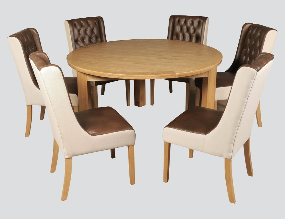 Treviso Oak Round Dining Table and 6 Olivia Chairs