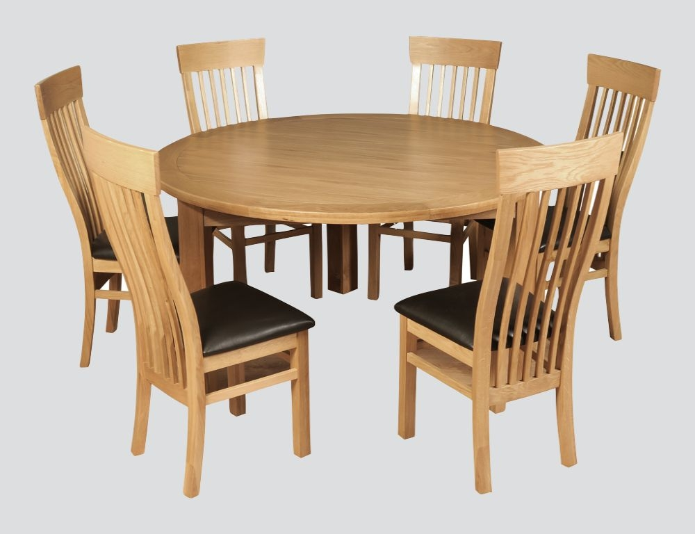 Treviso Oak Round Dining Table and 6 Chairs