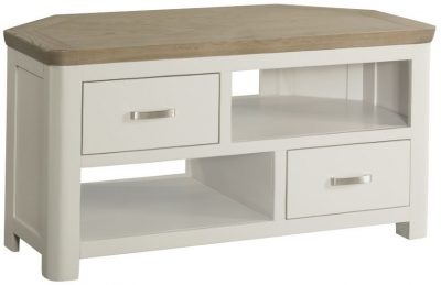 Treviso Corner TV Unit - Oak and Painted