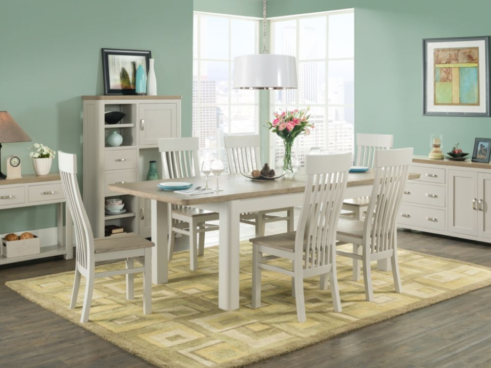 Treviso Large Extending Dining Table and 6 Chairs - Oak and Painted