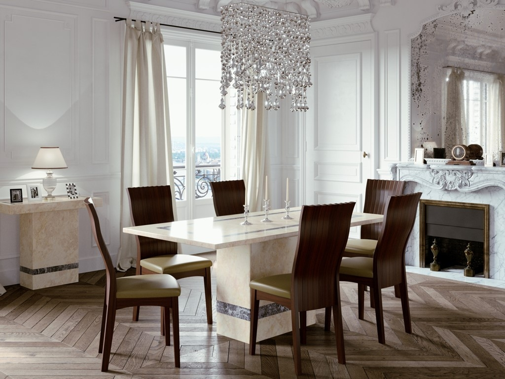 Vittoria Marble Dining Set With 6 Chairs