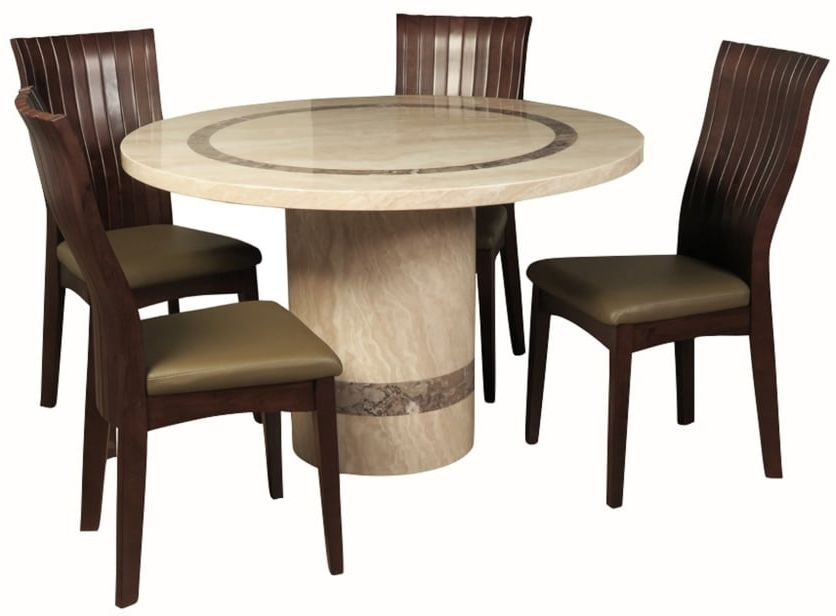 Vittoria Marble Dining Set - 4ft Round with 4 Chairs