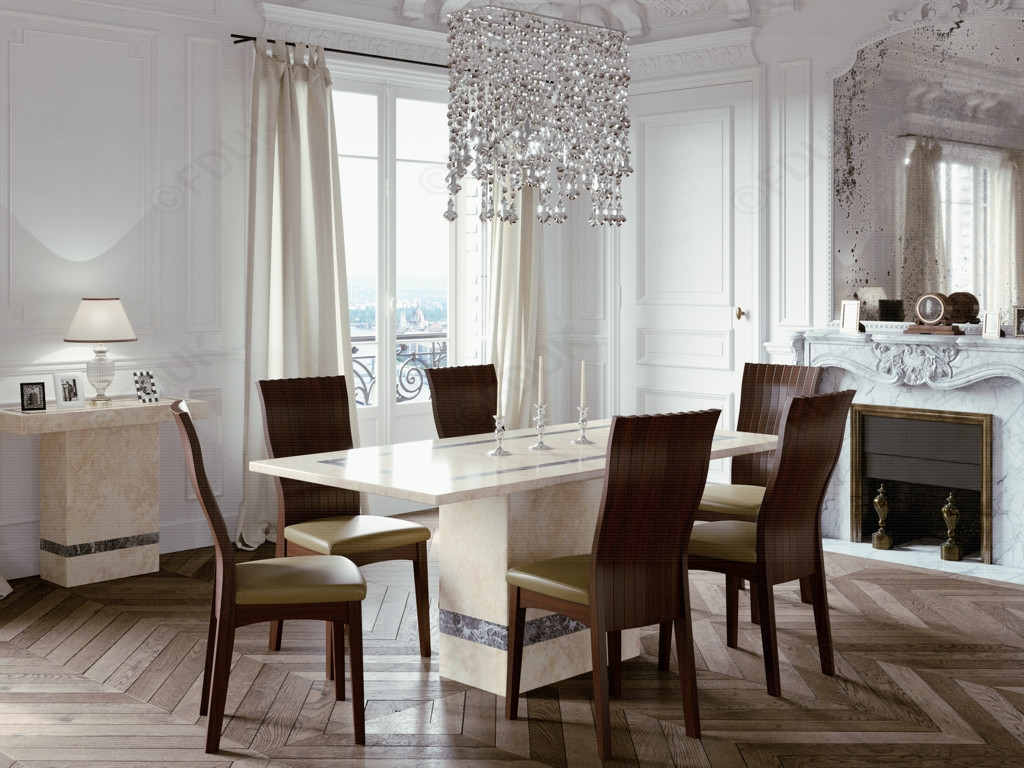 Vittoria Marble Rectangular Dining Set with 6 Chairs - 180cm
