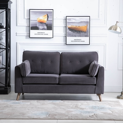Zurich Elephant Grey Velvet Fabric 2 Seater Sofa