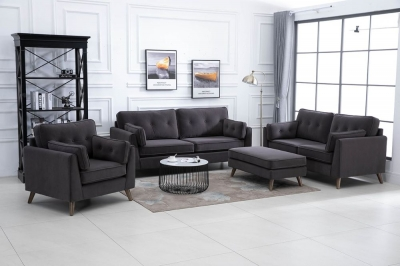 Zurich Elephant Grey Velvet Fabric 3+2+1 Seater Sofa Suite with Footstool
