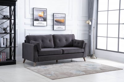 Zurich Elephant Grey Velvet Fabric 3 Seater Sofa