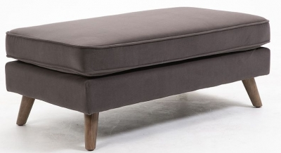Zurich Elephant Grey Velvet Fabric Footstool