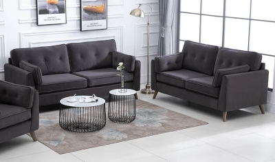 Zurich Elephant Grey Velvet Fabric Sofa Suite