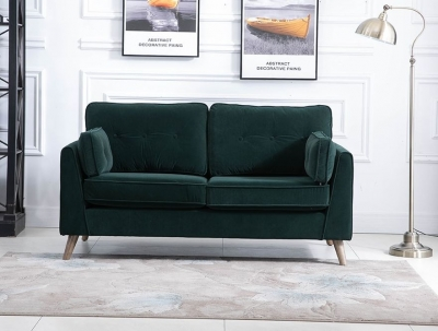 Zurich Green Velvet Fabric 2 Seater Sofa
