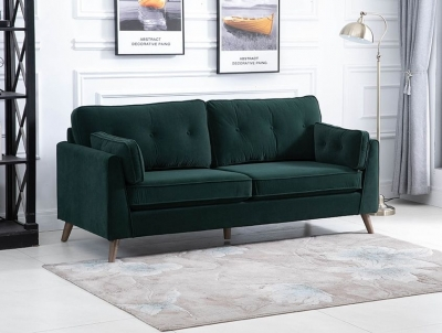Zurich Green Velvet Fabric 3 Seater Sofa