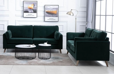 Zurich Green Velvet Fabric Sofa Suite